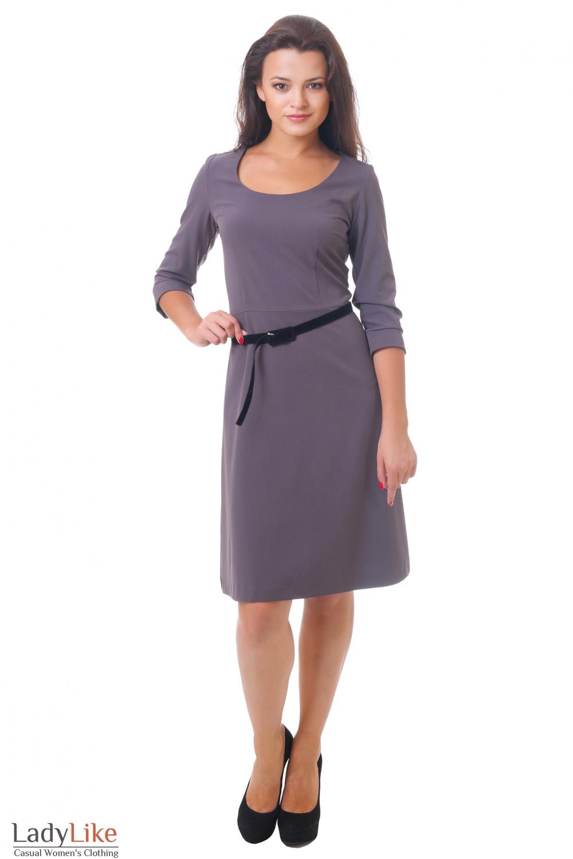 Купить сиреневое платье с юбкой-трапецией Деловая женская одежда