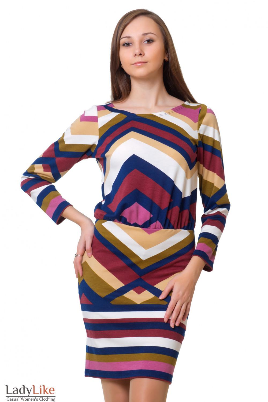 Платье теплое в разноцветную геометрию Деловая женская одежда