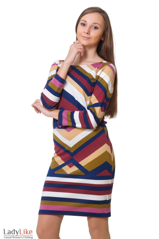 Купить трикотажное цветное платье Деловая женская одежда