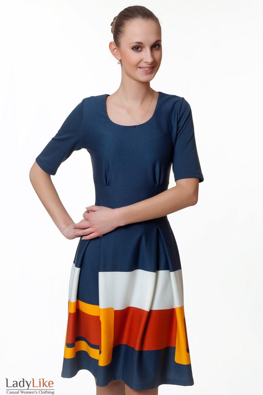 Фото Платье трикотажное с отрезной талией Деловая женская одежда