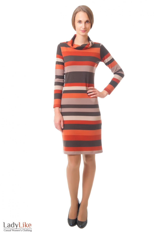 Купить трикотажное платье в полоску Деловая женская одежда