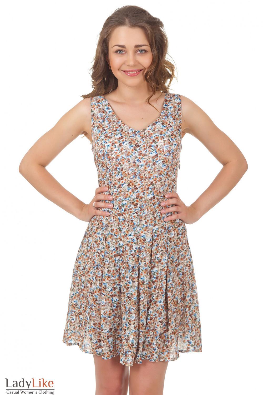 Купить платье в цветочек со складками на юбке Деловая женская одежда
