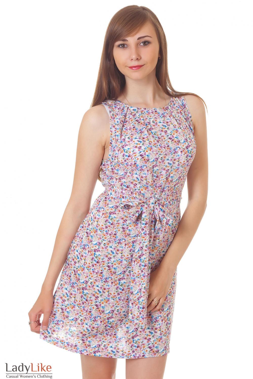 Купить платье в мелкий сиреневый цветочек Деловая женская одежда