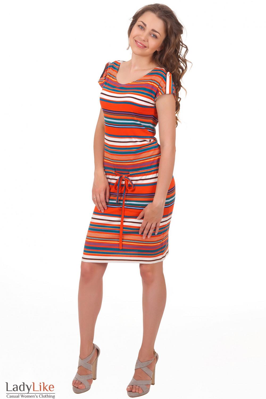 Платье в оранжевую полоску Деловая женская одежда