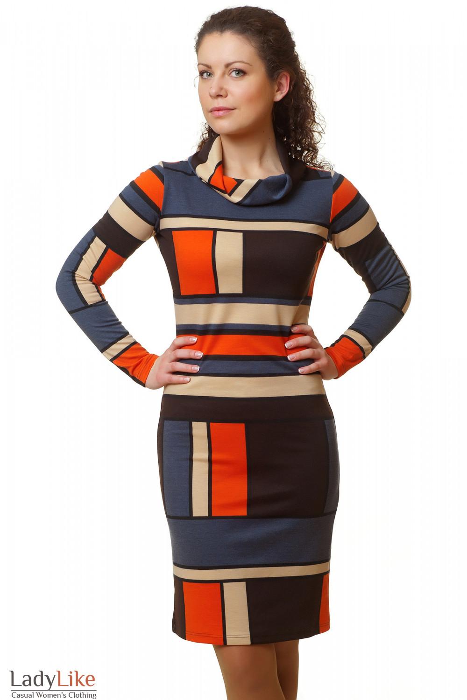 Купить платье в рыжие квадраты Деловая женская одежда
