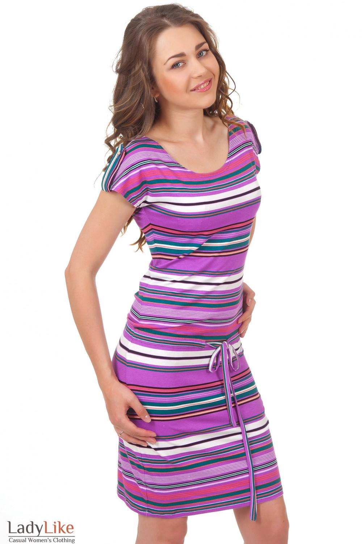 Купить платье в сиреневую полоску Деловая женская одежда