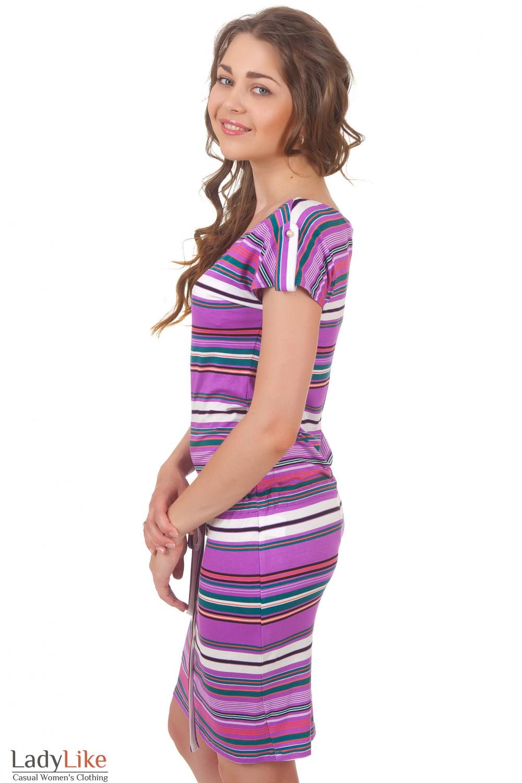 Летнее полосатое платье Деловая женская одежда