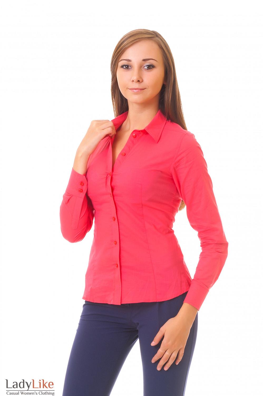 Рубашка классическая коралловая Деловая женская одежда