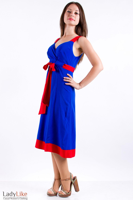 Фото Сарафан синий с красными вставками Деловая женская одежда