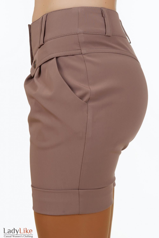 Купить короткие коричневые шорты Деловая женская одежда