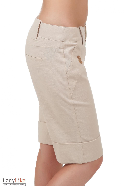 Купить льняные бежевые шорты Деловая женская одежда