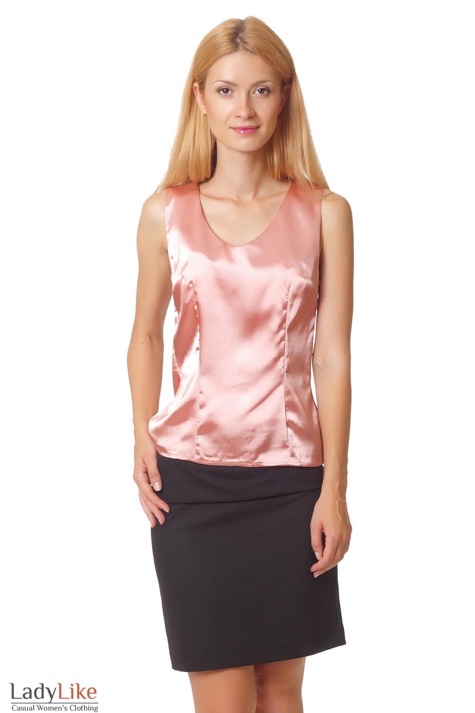 Топ из персикового атласа Деловая женская одежда