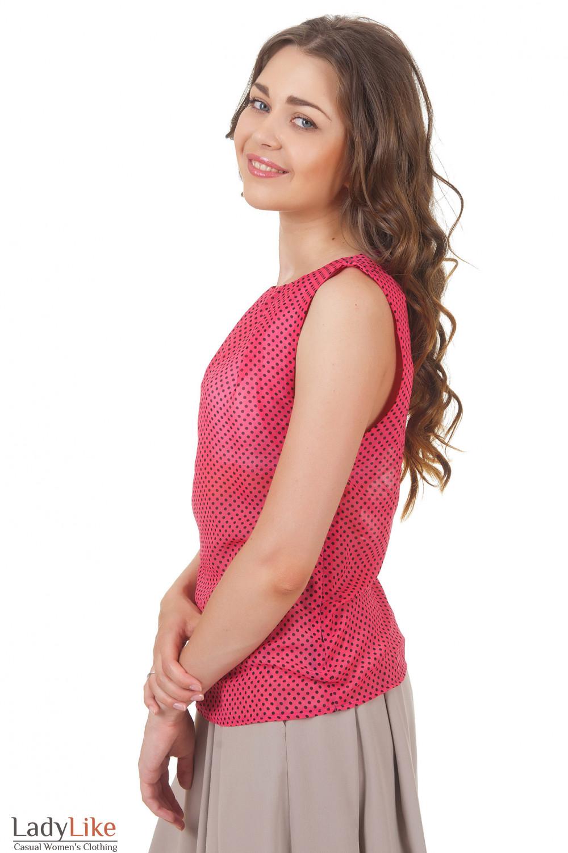Купить топ розовый в черный горошек Деловая женская одежда