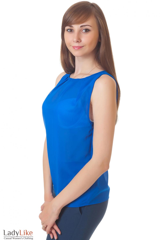Купить синюю блузку Деловая женская одежда