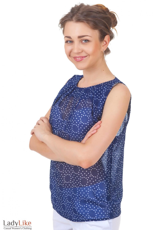 Купить синюю майку в белый горошек Деловая женская одежда