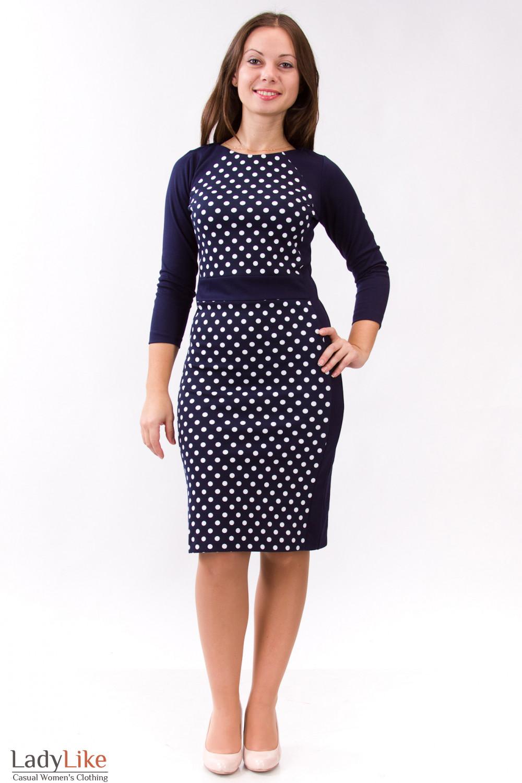 Фото Трикотажное платье синее в горошек Деловая женская одежда