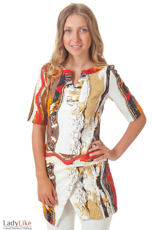 Туника льняная в рыжие полоски Деловая женская одежда