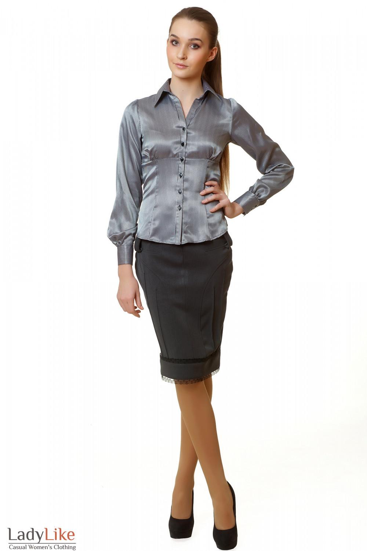 Юбка-карандаш серая с кружевом Деловая женская одежда