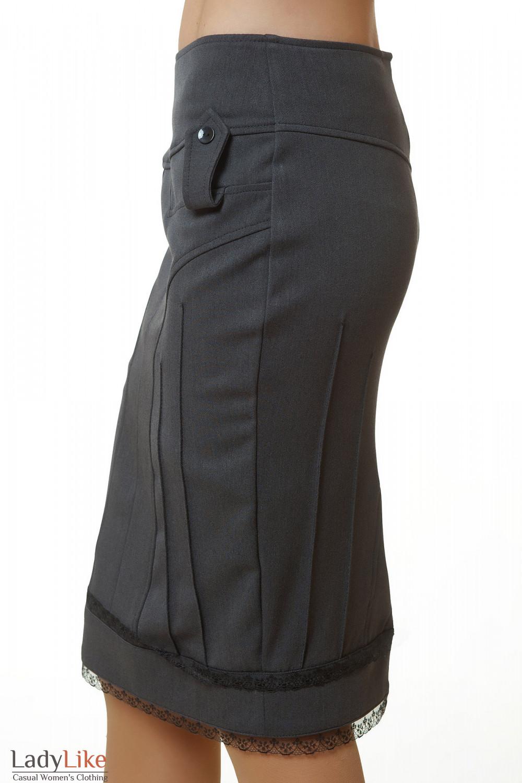Серая юбка-карандаш Деловая женская одежда