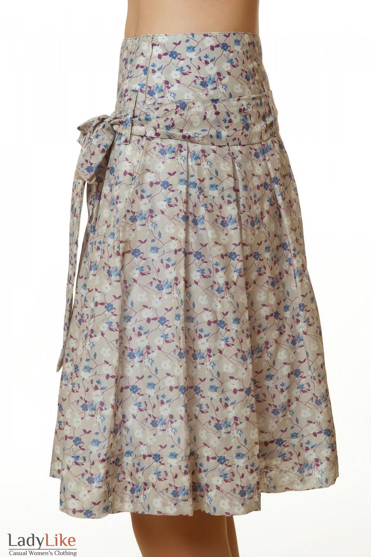 Купить юбку бежевую в синий цветочек Деловая женская одежда