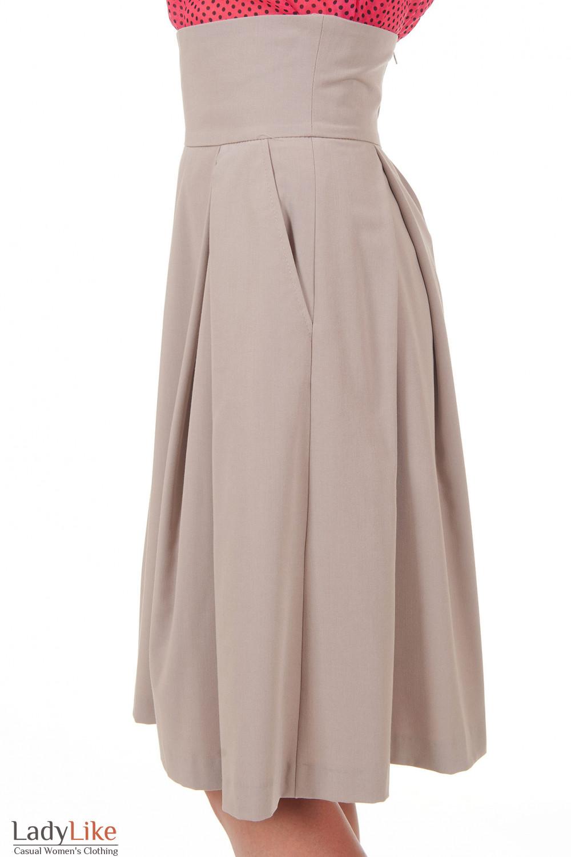 Купить бежевую юбку с високой талией Деловая женская одежда