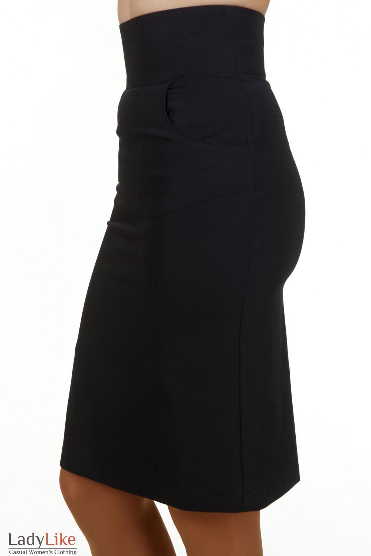 Купить юбку черную с карманами Деловая женская одежда