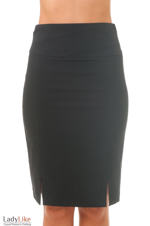 Юбка черная с рельефом на поясе Деловая женская одежда