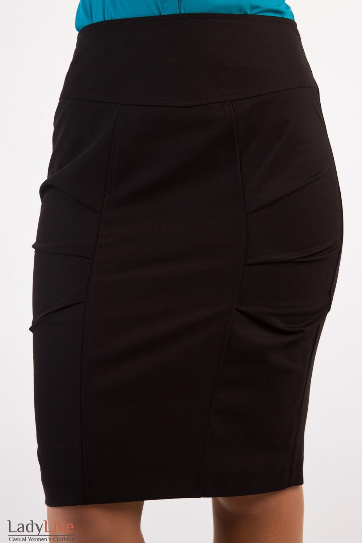 Фото Юбка черная с защипами Деловая женская одежда