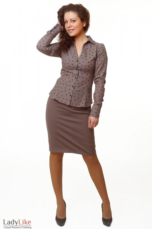 Купить юбку коричневую с високой талией Деловая женская одежда
