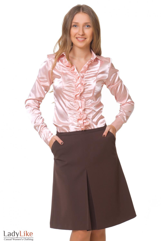 Купить теплую коричневую юбку с блузкой Деловая женская одежда