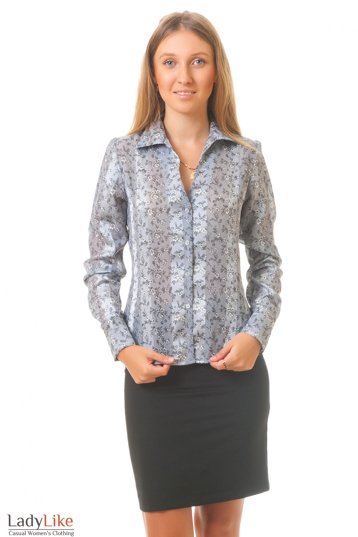 Купить офисную юбку с серой блузкой Деловая женская одежда