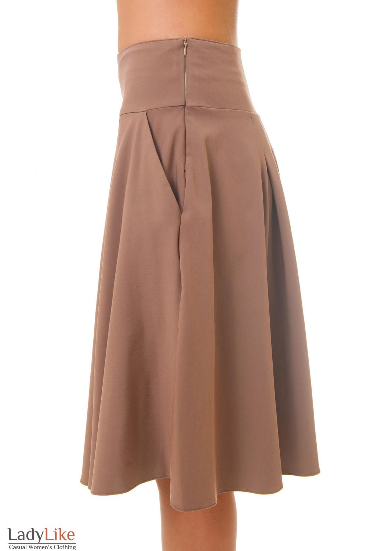 Купить пышную коричневую юбку Деловая женская одежда