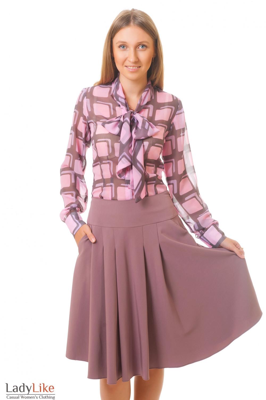 Купить сиреневую юбку с карманами Деловая женская одежда