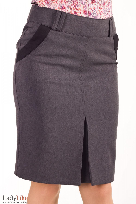Фото Юбка с бантовой складкой темно-серая  Деловая женская одежда