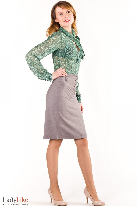 Фото Юбка в серую полоску Деловая женская одежда