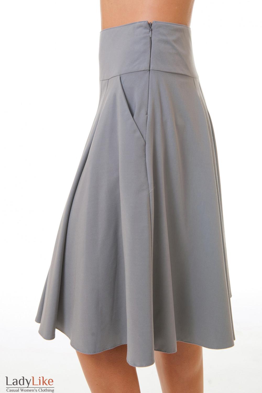 Купить серую юбку-солнцеклеш Деловая женская одежда
