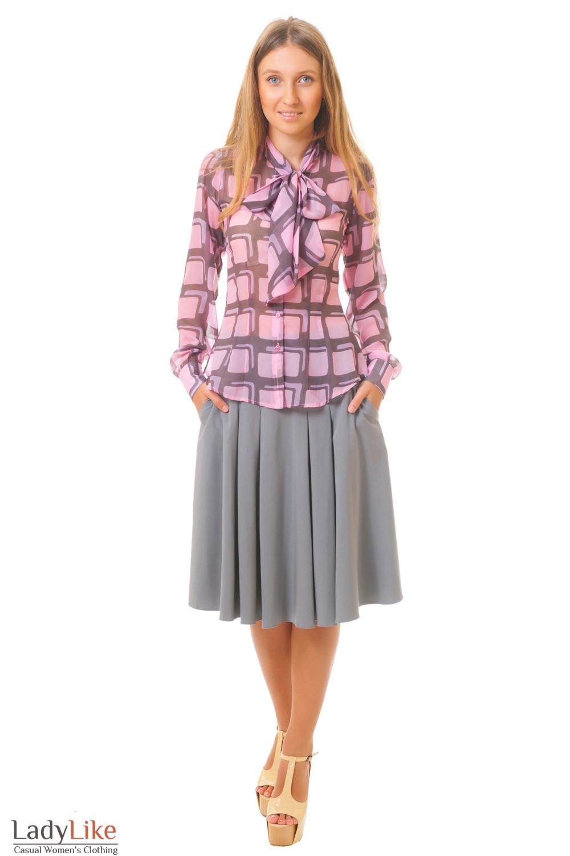 Купить серую пышную юбку Деловая женская одежда