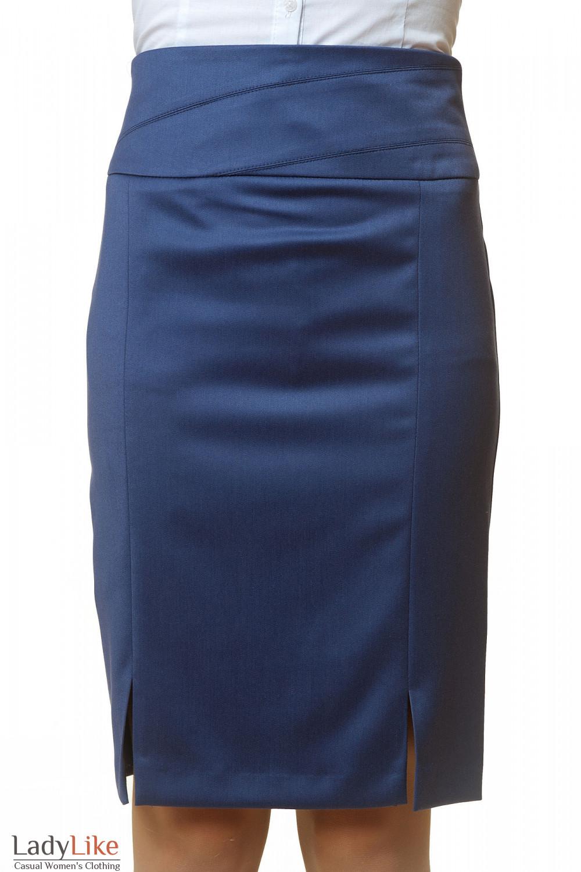Фото Юбка синяя с широким поясом Деловая женская одежда