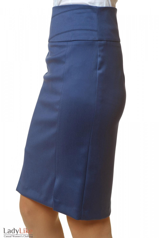 Купить юбку синюю с завышенной талией Деловая женская одежда