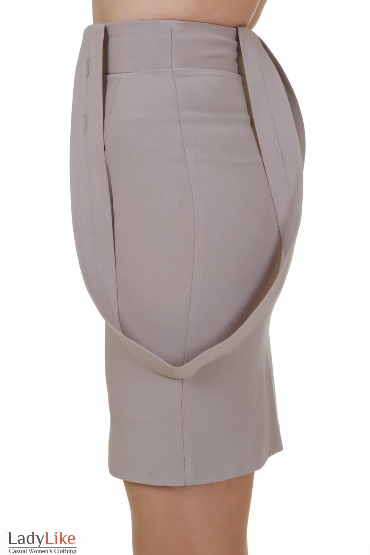 Купить юбку с высокой талией и бретелями Деловая женская одежда