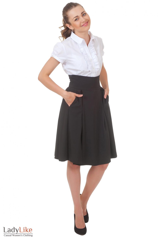 Купить черную юбку со складками Деловая женская одежда
