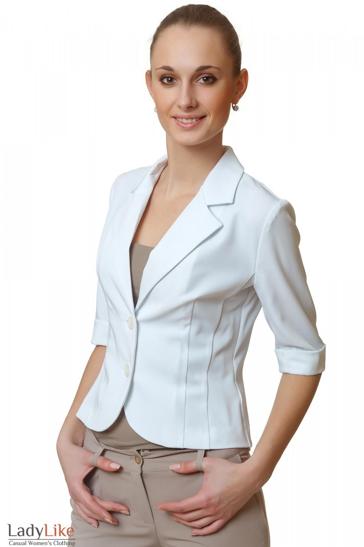 Жакет белый летний без карманов Деловая женская одежда