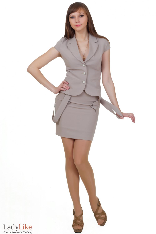 Костюм бежевый с коротким рукавом Деловая женская одежда