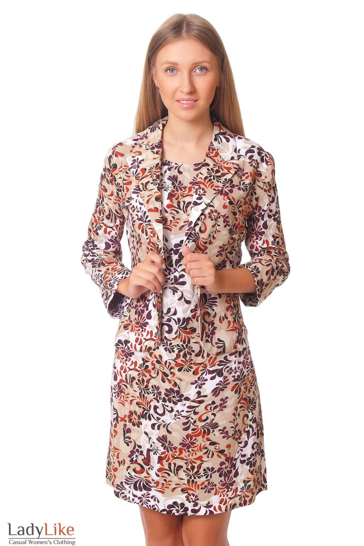 Жакет бежевый в бордовые цветы Деловая женская одежда