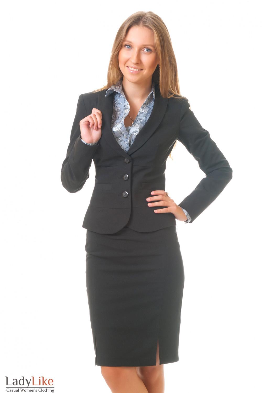 Жакет черный с отрезной талией Деловая женская одежда