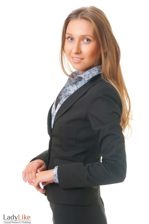 Купить черный жакет с щалевым воротником Деловая женская одежда
