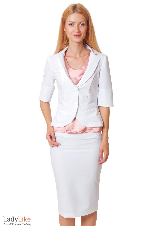 Купить белый жакет с коротким рукавом Деловая женская одежда