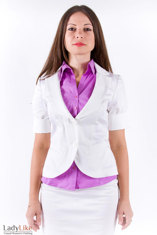 Фото Жакет из хлопка кремовый Деловая женская одежда