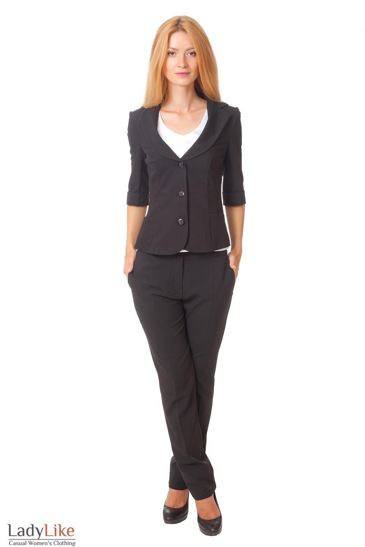 Купить черный жакет с 3/4 рукавом Деловая женская одежда