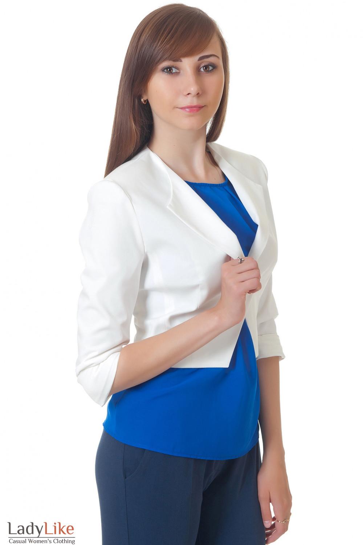 Жакет-болеро белый Деловая женская одежда